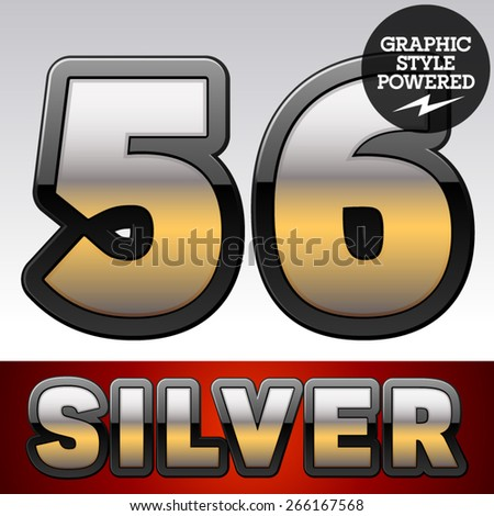 Vector set of gradient silver font with black border. Numbers  5 6