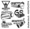 Vector set of graffiti school labels in vintage retro style. Street art design elements, icons, logo, emblems and badges isolated on white background. Graffiti spray can.