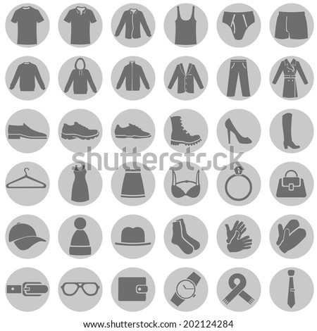 Vector Set of Gray Circle Clothes Icons - stock vector