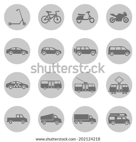 Vector Set of Gray Circle  Ground Transportation Icons - stock vector
