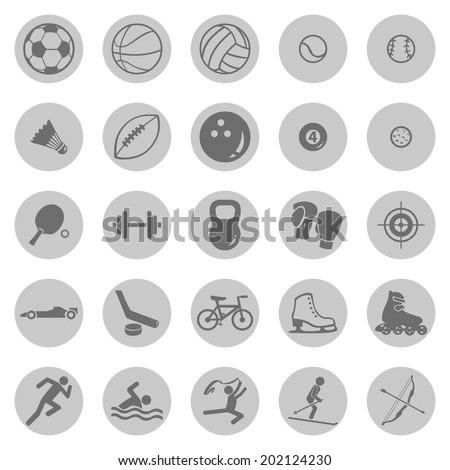 Vector Set of Gray Circle Sport Icons - stock vector