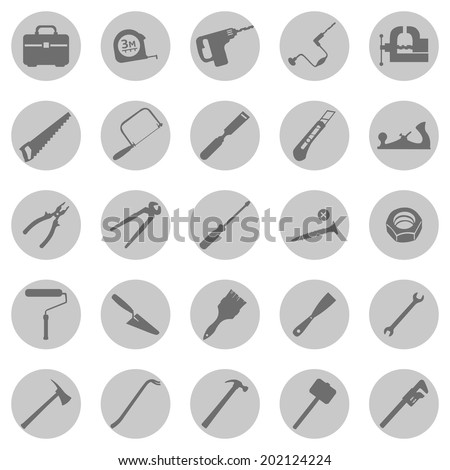 Vector Set of  Gray Circle Work Tools Icons - stock vector
