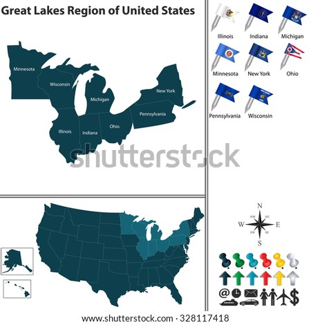Vector set of Great Lakes region of United States with flags and map on white background