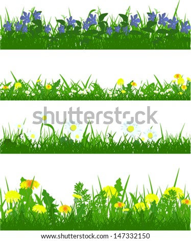 Vector Set of green grass and meadow flowers - stock vector