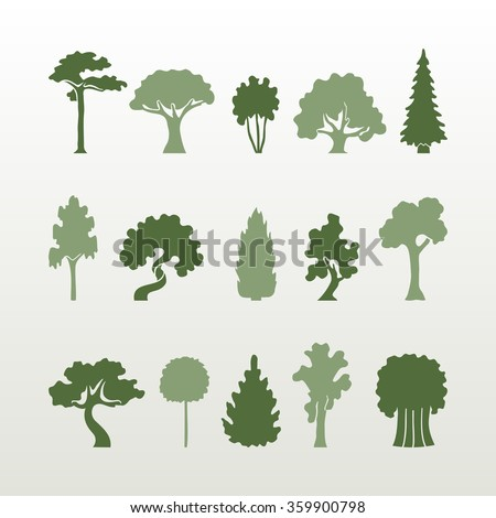 Vector set of green trees simple form on a light background. - stock vector