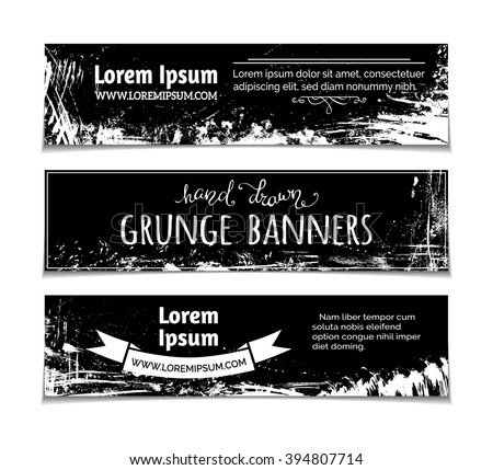 Vector set of grunge blackboard horizontal banners. Chalk hand-drawn stains, flourishes and blots on blackboard banners. There is place for your text. - stock vector