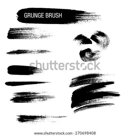 Vector set of grunge brush strokes 9 - stock vector