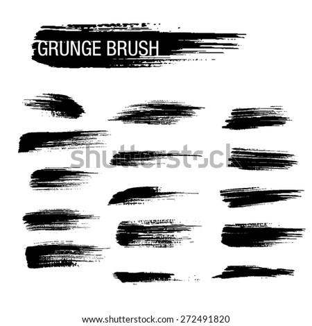Vector set of grunge brush strokes 21 - stock vector