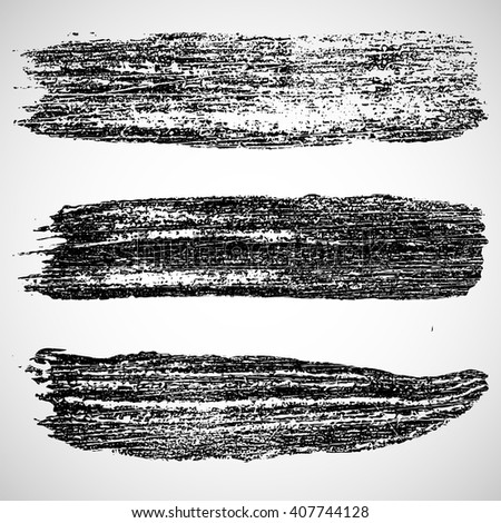 Vector set of grunge brush strokes. Black paint spots. Element for your design.