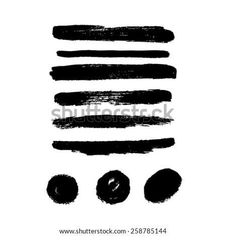 Vector set of grunge brush strokes. Black vector brush strokes and circles collection. - stock vector