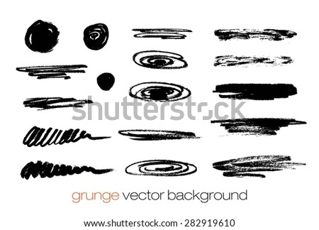 Vector Set of grunge brush strokes. Black vector brush strokes collection. Grunge marker stains. Set of brushes and other design elements, hand drawn with ink. - stock vector