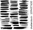 Vector set of grunge brush strokes. Jpeg version also available in gallery. - stock photo