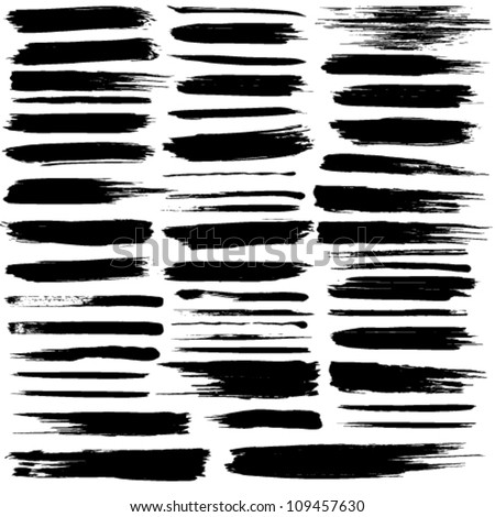 Vector set of grunge brush strokes. Jpeg version also available in gallery. - stock vector