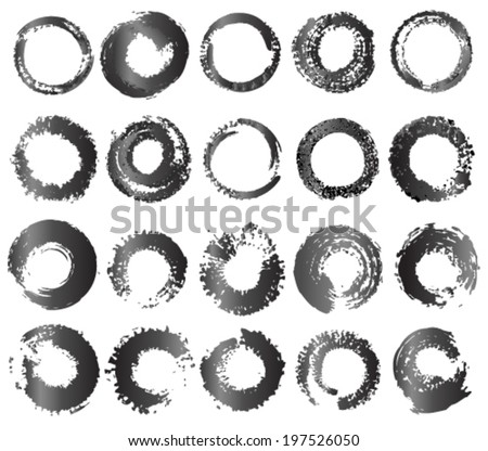 Vector set of grunge circle brush strokes. Abstract design element. - stock vector