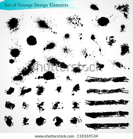 Vector Set of Grunge Design Elements.  Brush Strokes. Large Collection. - stock vector