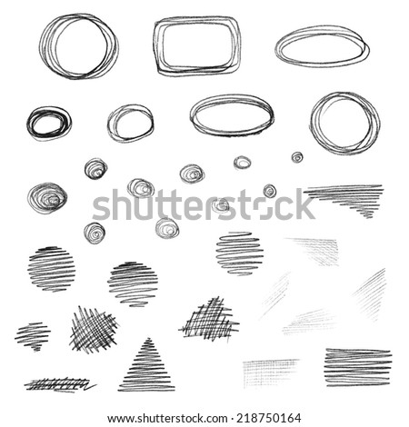 Vector set of grunge elements isolated on white background. Pencil texture drawing.  - stock vector