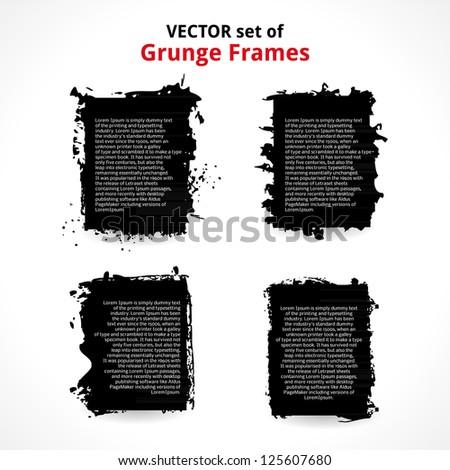 Vector Set of Grunge Frames. - stock vector