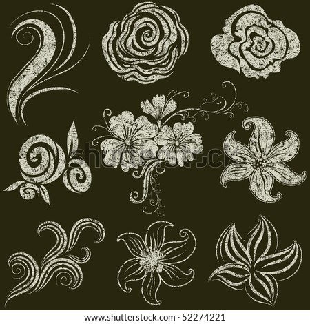 """Vector set of grunge leafs and flower design elements (from my big """"Floral collection"""") - stock vector"""