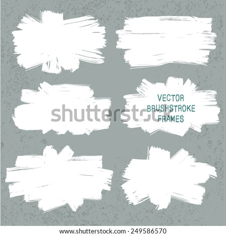 Vector set of grunge paint brush frames on old wall background. Abstract elements for your design - stock vector
