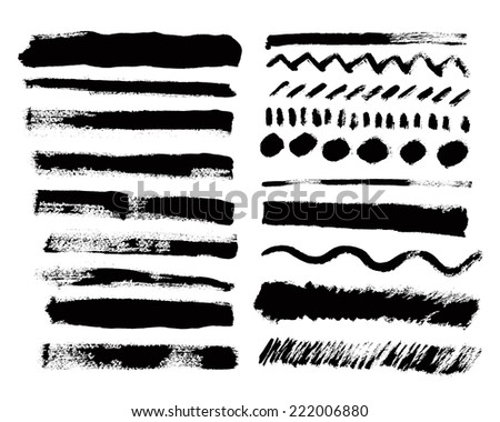 Vector set of grunge paint strokes.  - stock vector