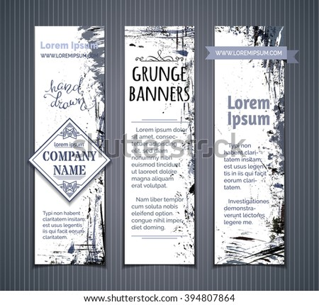 Vector set of grunge vertical banners. Grey and blue hand-drawn ink stains, flourishes and blots. There is place for your text on white area. - stock vector