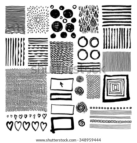 Vector set of grungy hand drawn textures on white background. Lines, circles, crosses, smears, spirals, waves, spirals, scales, hearts, brush strokes, drops, sunbursts, squares. Hand drawn elements - stock vector