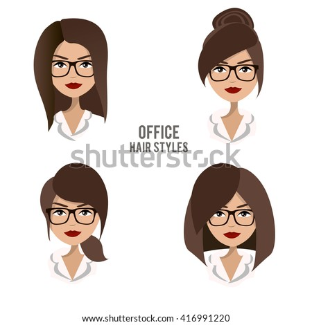 Vector set of hair styles and hairdos for office female workers. Friendly, positive, pretty brunette office female character design. Business woman, boss, assistant, manager, staff wearing glasses - stock vector