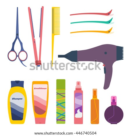 Vector set of hairdresser's tools and hair care products: scissors, tail comb, flat iron, hair setting clips, hairdryer, shampoo, conditioner, fixing spray, hair-styling mousse, oil, protection spray. - stock vector