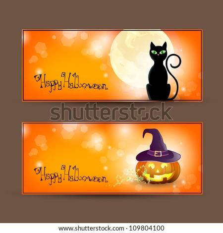 Vector set of halloween banners - stock vector
