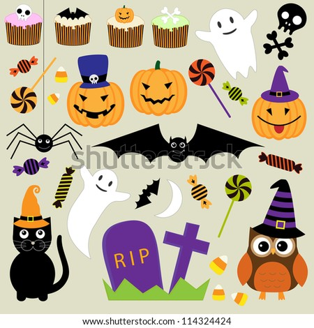 Vector set of Halloween elements - stock vector