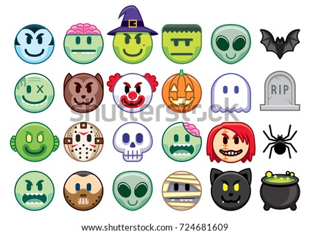 Vector Set Halloween Emojis Isolated On Stock Vector 724681609 ...
