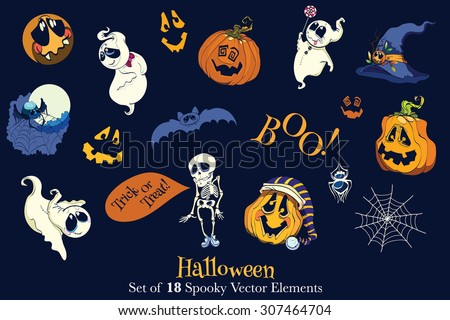 Vector Set of 18 Halloween Funny Scarry Elements