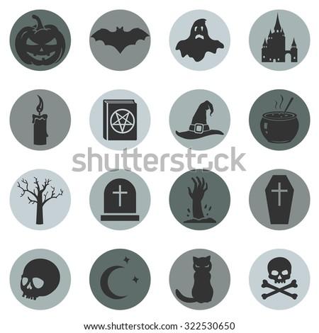 Vector Set of Halloween Icons - stock vector