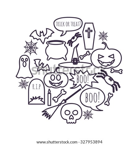 vector set of Halloween symbols placed in a circle - stock vector