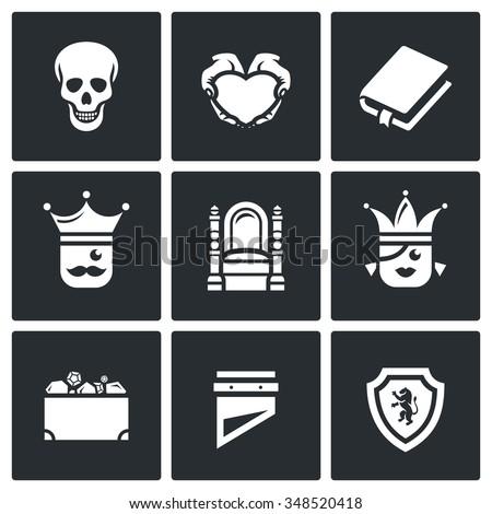 Vector Set of Hamlet tragedy Icons. Death, Love, Piece, Kingdom, Throne, Princess, Treasure, Sentinel. Skull, Heart, Book, King, Queen, Heritage, Guillotine, Shield - stock vector