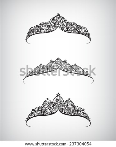vector set of hand drawn beautiful decorated with pattern crowns isolated - stock vector
