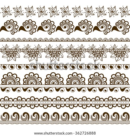 Vector set of hand drawn borders in ethnic indian style. Collection of pattern brushes inside. Mehndi ornamental borders. Decorative floral elements for henna design