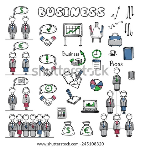Vector set of hand drawn business symbols. Icons for use in design - stock vector
