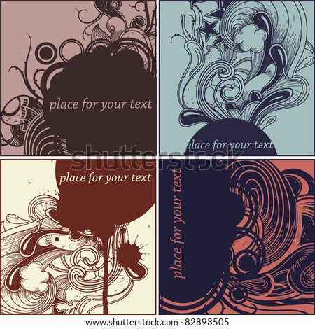 vector set of hand drawn cards with abstract plants , drops and waves - stock vector