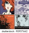 vector set of hand drawn cards with pretty girls and abstract backgrounds - stock photo