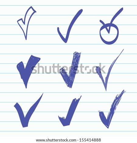 Vector set of Hand-drawn check - stock vector