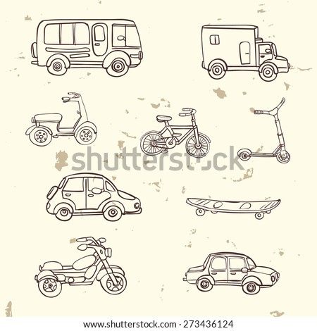 Vector set of hand drawn city transport icons. Bike, bicycle, scooter, long board, bus, car, truck, motorcycle. - stock vector