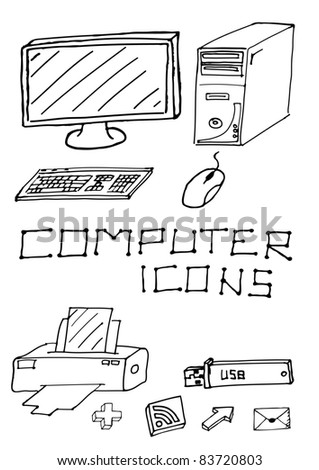Vector set of hand drawn computer icons - stock vector