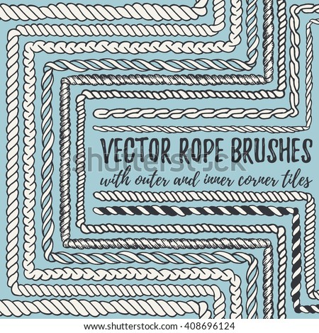 Vector set of 10 hand drawn decorative seamless pattern Rope brushes with outer and inner corner tiles. Endless whimsical ink borders for frames, marine knots, nautical elements. Brushes in eps file - stock vector