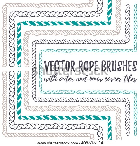 Vector set of 6 hand drawn decorative seamless pattern Rope brushes with outer and inner corner tiles. Endless whimsical ink borders for frames, marine knots, nautical elements. Brushes in eps file - stock vector
