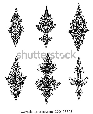 Vector set of hand drawn doodle abstract design pattern elements