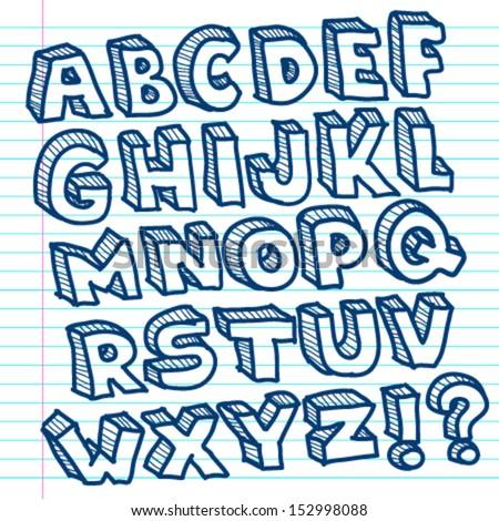 Vector set of hand drawn doodle alphabet. - stock vector