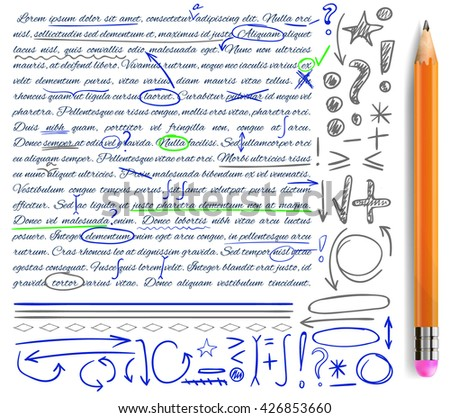 VECTOR set of hand drawn doodle icons. Elements for text correction. Gray, green and blue marks and realistic pencil. - stock vector