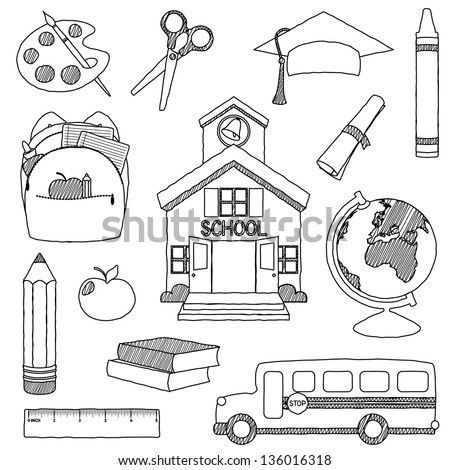 Vector Set of Hand Drawn Doodle School Vectors - unfilled - stock vector