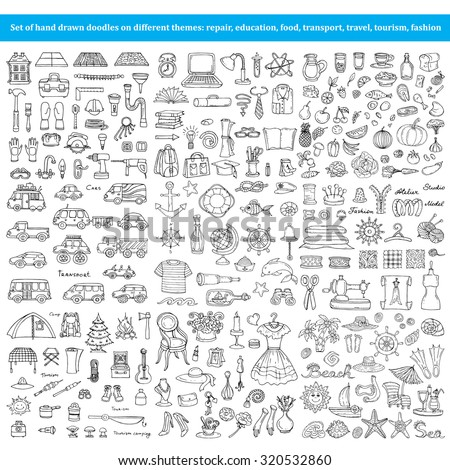 Vector set of hand drawn doodles on different themes - repair, education, food, transport, travel, tourism, fashion. Flat illustrations for use in design - stock vector
